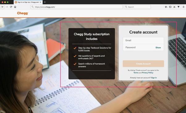 Cerca account Chegg gratuiti su Reddit, Quora e siti di social media