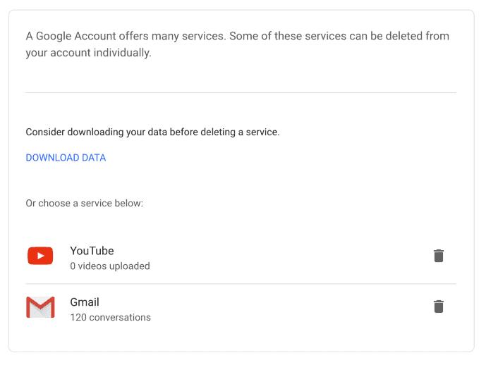 Eliminare Account Gmail