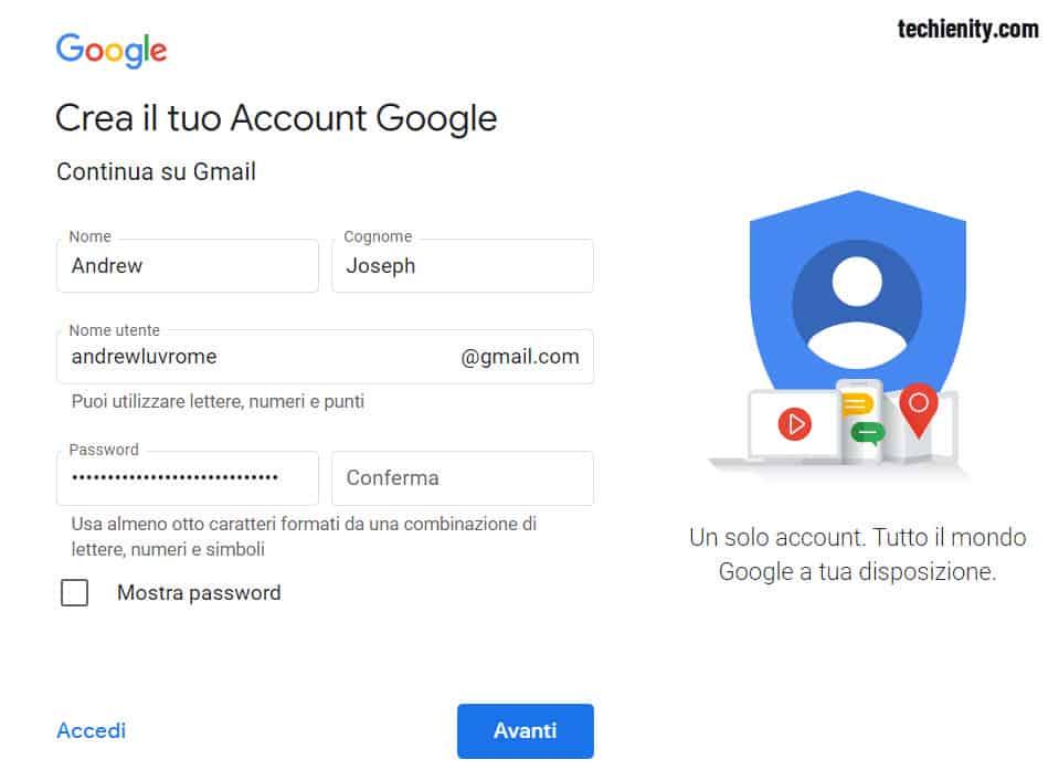 Crea un Nuovo Account Gmail