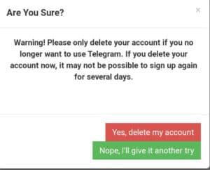 Elminare Account Telegram