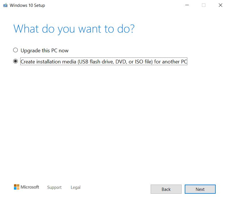 Scarica Media Creation Tool per Windows 10