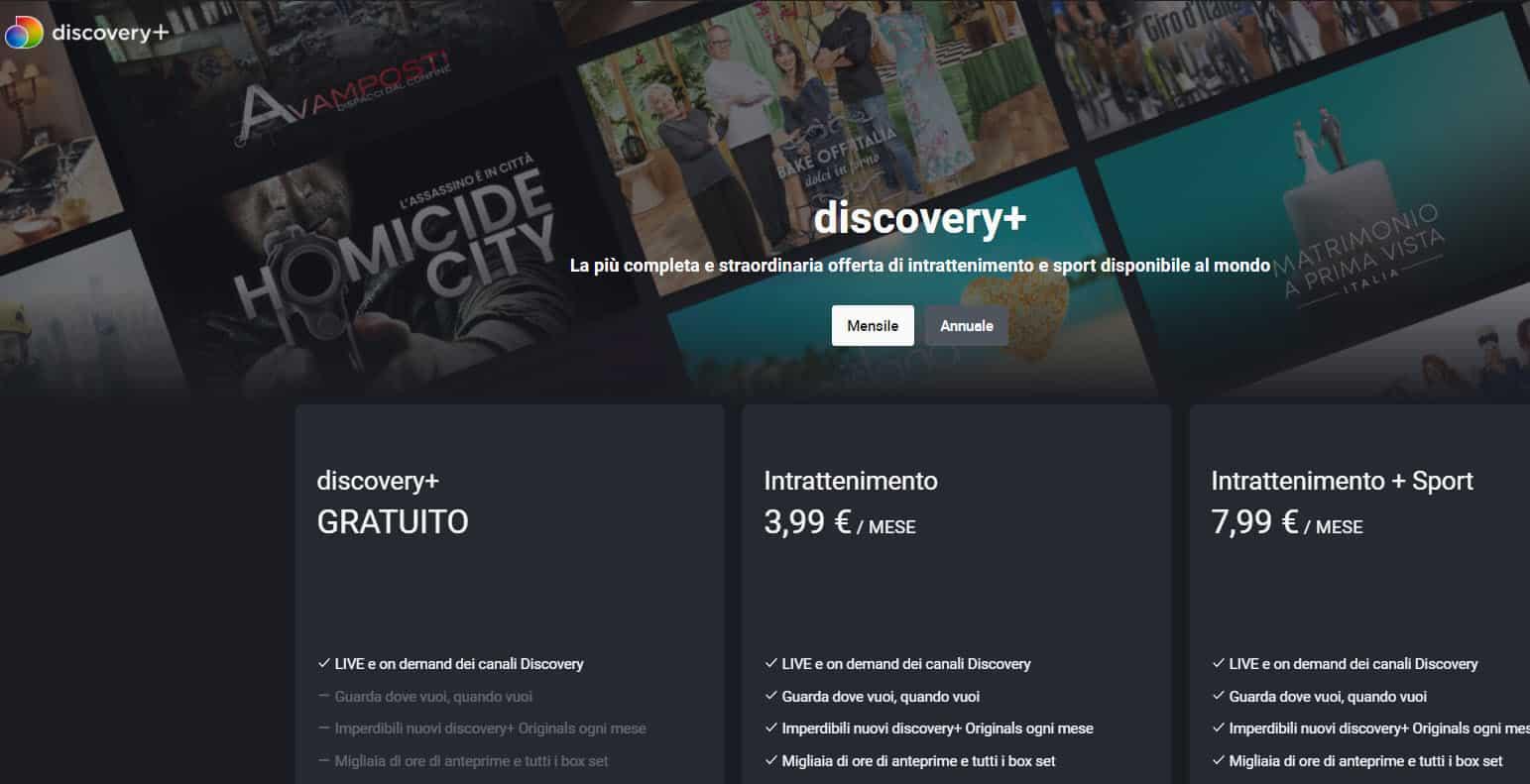 Abbonamenti Discovery+